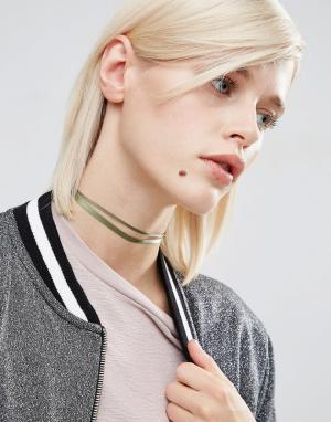 ASOS Ожерелье-чокер с двойной лентой. Цвет: зеленый