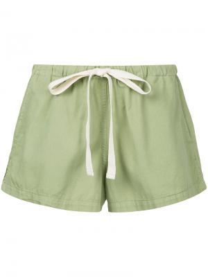 Пляжные шорты со шнурком Bassike. Цвет: зелёный