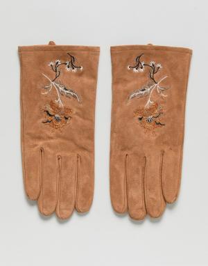 ASOS Светло-коричневые замшевые перчатки с вышивкой. Цвет: рыжий