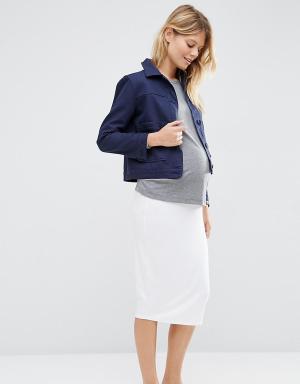 ASOS Maternity Трикотажная юбка-карандаш миди для беременных. Цвет: белый