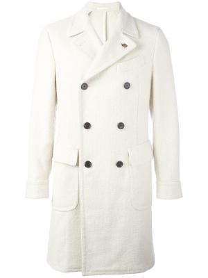 Двубортное пальто с зазубренными лацканами Gabriele Pasini. Цвет: телесный