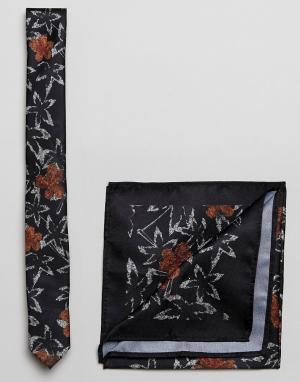 ASOS Черные галстук и платок для нагрудного кармана с цветочным принтом ASO. Цвет: черный