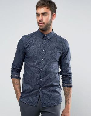 PS by Paul Smith Темно-синяя узкая рубашка. Цвет: темно-синий