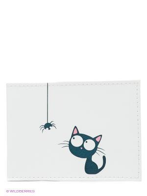 Обложка для студенческого Кошка и паучок Mitya Veselkov. Цвет: белый, антрацитовый, розовый