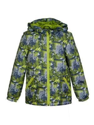 Куртка Oldos. Цвет: серый, салатовый