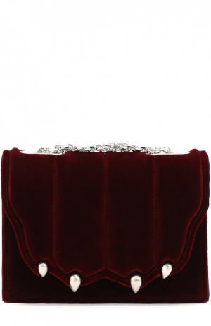 Бархатная сумка Paw на цепочке Marco de Vincenzo. Цвет: бордовый