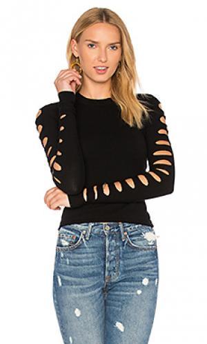 Укороченный свитер с разрезами на рукавах Autumn Cashmere. Цвет: черный
