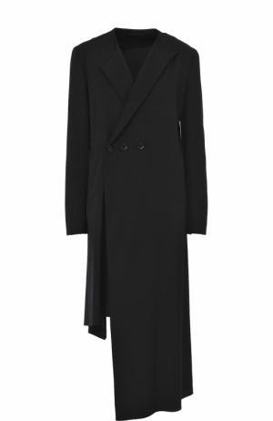 Шерстяное двубортное пальто асимметричного кроя Yohji Yamamoto. Цвет: черный