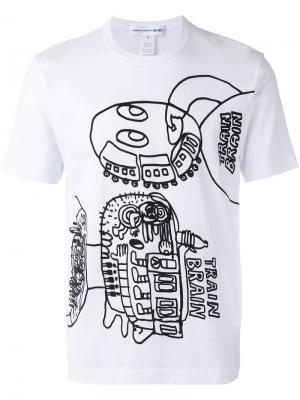 Train brain print T-shirt Comme Des Garçons Shirt. Цвет: белый