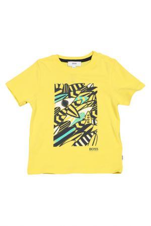 Футболка Hugo Boss. Цвет: желтый