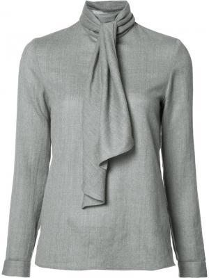 Блузка с элементом шарфа Vanessa Seward. Цвет: серый