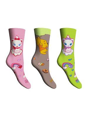 Носки 3 пары Master Socks. Цвет: светло-коричневый, розовый, зеленый
