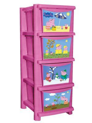 Детский комод для детской комнаты Свинка Пеппа 335мм розовый Little Angel. Цвет: розовый