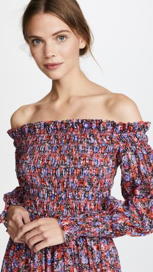Off Shoulder Cosmic Flower Dress Rebecca Taylor
