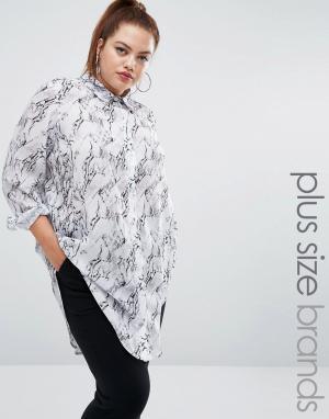 One Three Рубашка с мраморным принтом. Цвет: белый
