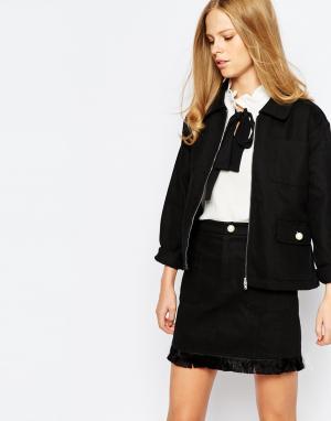The Laden Showroom Пиджак с поясом и оборкой X Even Vintage. Цвет: черный
