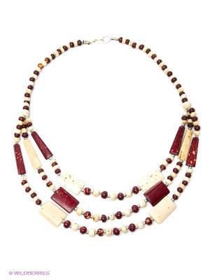 Ожерелье ГАНГ. Цвет: молочный, бордовый