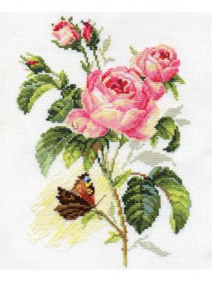 Набор для вышивания Роза и бабочка  17х25 см. Алиса. Цвет: зеленый, коричневый, розовый