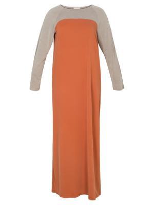 Платье трикотажное с контрастной кокеткой и рукавом коричневое Bella kareema