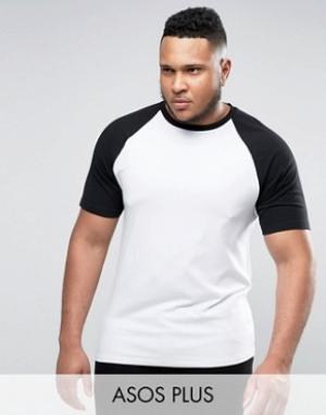 ASOS Черно-белая обтягивающая футболка с контрастными рукавами реглан. Цвет: белый