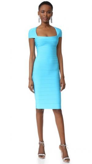 Платье Margot с короткими рукавами Herve Leger. Цвет: карибский синий