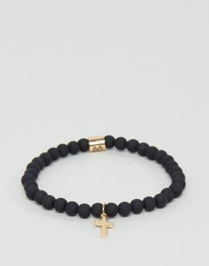 Chained & Able Золотистый узкий браслет с крестом. Цвет: золотой