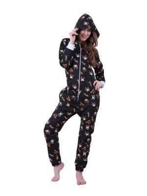 Хлопковая пижама Кошки HandyWear. Цвет: темно-коричневый