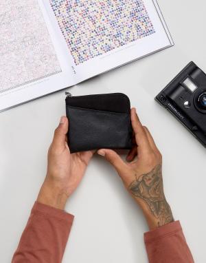 ASOS Кожаный кошелек на молнии с парусиновой вставкой. Цвет: черный