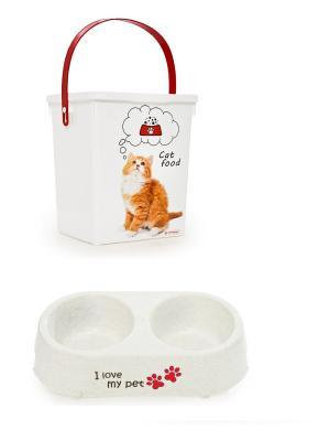 Набор из 2х предметов для кошки.Контейнер корма и миски воды. Полимербыт. Цвет: красный,белый