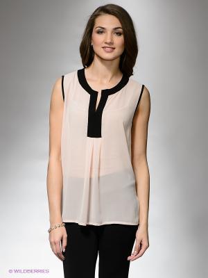 Блузка DRS Deerose. Цвет: бледно-розовый, черный