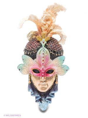 Венецианская маска Стрекоза Veronese. Цвет: золотистый, темно-синий, светло-зеленый