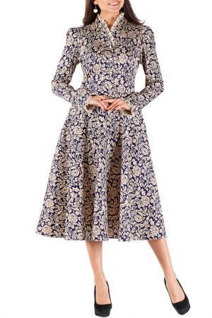 Платье Mannon. Цвет: бежево-синий