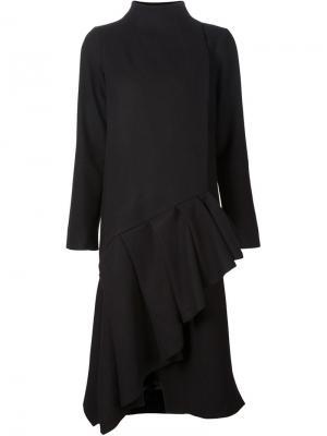 Асимметричное пальто с оборкам на подоле Audra. Цвет: чёрный