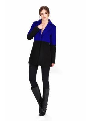 Пальто PAOLA MORENA. Цвет: черный, синий, темно-синий