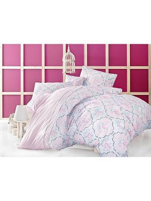 Комплект постельного белья MONALISA ранфорс, 145ТС, евро ISSIMO Home. Цвет: розовый