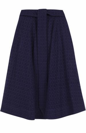 Кружевная юбка-миди с поясом Lisa Marie Fernandez. Цвет: темно-синий