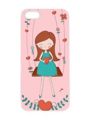 Чехол для iPhone 5/5s Девочка на качелях Арт. IP5-200 Chocopony. Цвет: белый, бирюзовый, коричневый, розовый