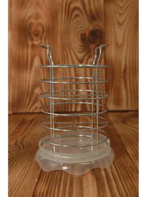 Сушилка для столовых приборов с поддоном , металл, пластик, d13х11см, 3 цвета, АЕ-419 Vetta. Цвет: белый, серебристый