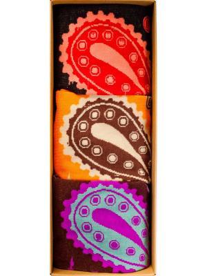 Набор Огурцы-молодцы (3 пары в коробке), дизайнерские носки SOXshop. Цвет: черный, темно-фиолетовый, красный, оранжевый