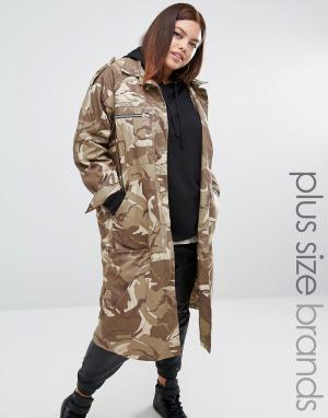 One Three Удлиненная куртка с камуфляжным принтом. Цвет: мульти