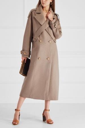 Пальто из шерсти и кашемира Ruban. Цвет: коричневый