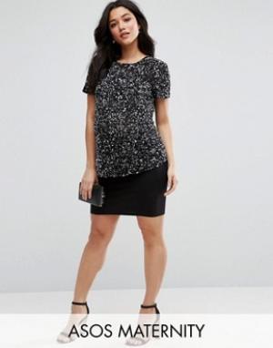ASOS Maternity Трикотажная мини-юбка для беременных. Цвет: черный