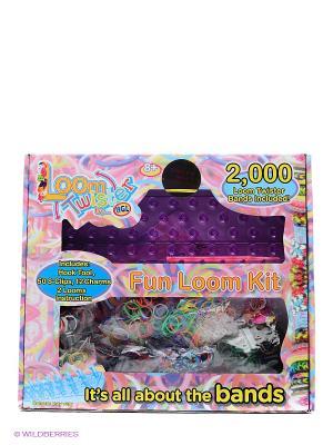 Набор для плетения браслетов из резинок Loom Twister. Цвет: черный, зеленый, салатовый, голубой, красный, розовый, желтый, фиолетовый