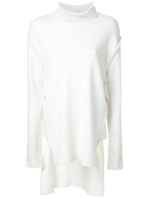 Блузка с удлиненной задней панелью Fad Three. Цвет: белый