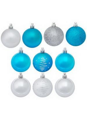 Набор шаров 10шт, 6см, пластик, Новогодний, 2 цвета, 6010N4-5600AK0270 СНОУБУМ. Цвет: синий, белый