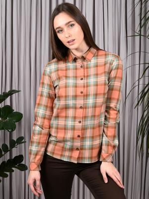 Рубашка OVALOVA. Цвет: персиковый, коричневый