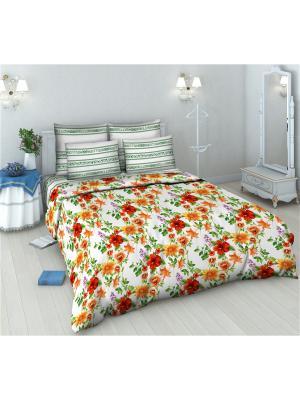 Комплект постельного белья из бязи 2 спальный Василиса. Цвет: белый, зеленый, фиолетовый, красный