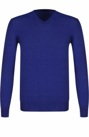 Пуловер из шерсти тонкой вязки TSUM Collection. Цвет: синий