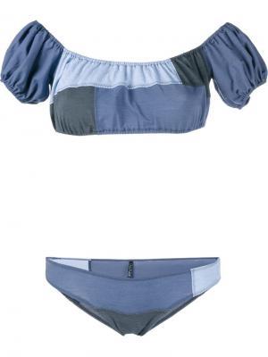 Лоскутное джинсовое бикини Leandra Lisa Marie Fernandez. Цвет: синий