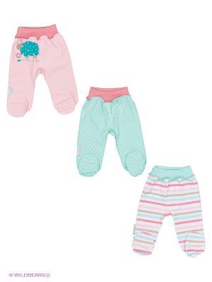 Комплект детский: ползунки 3 шт. Lucky Child. Цвет: розовый, зеленый